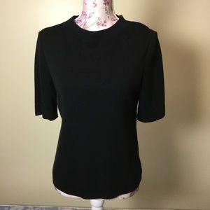 Talbots Black Short-Sleeve Top - Medium Petite